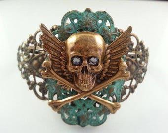 Skull Bracelet | Skull Jewelry | Skull Cuff | Victorian Skull Cuff | Steampunk Skull Bracelet | Patina Skull | Gothic Bracelet