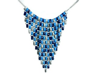 Blue and gray bib necklace - Statement necklace - Blue dangle necklace - Tapestry necklace - Paper quilling jewelry - Modern blue necklace