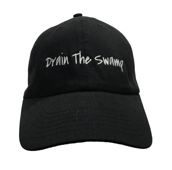 Drain the Swamp (Polo Style Ball Cap - Black with White Stitching