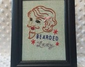 """Bearded Lady handmade embroidered upcycled work shirt framed art 5x7 black frame Sublime Stitching """"Carnival"""""""