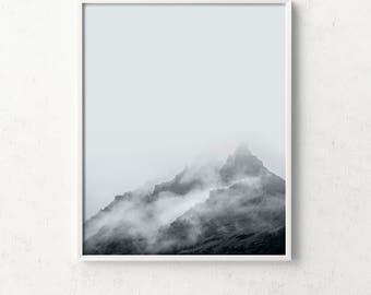 Mountain print, mountain wall art, landscape, mountains, minimalist mountain print,landscape prints, fog, foggy, nature wall art, minimalist