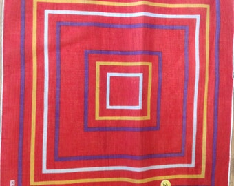 Kreier 100% Cotton Handkerchief - Geometric Design in Red, Orange and White - New and Unused From Vintage 1970 Stock