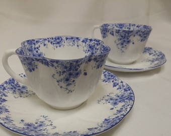 One Dainty Blue Cup and Saucer Set by Shelley