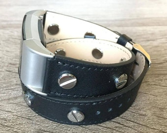 Classic Black Double Wrapped Eco Friendly Leather Bracelet For Fitbit Charge 2 With Silver Rivets Handmade Replacement Fitbit Charge 2 Band