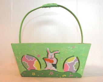 Green Handpainted Wood wooden Cut Out Easter Basket Bunny Rabbit Eggs