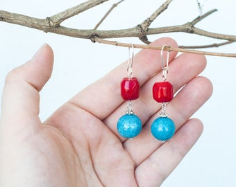 Red bamboo coral earrings, Red blue earrings, Blue and red earrings, Red coral dangle earrings, Red coral earrings