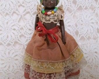 Vintage Souvenir Doll. Brazilian, Afro-Caribbean Doll. Jamaican Doll. Carmen Miranda Doll. Traditional Costume Doll. Black Doll.