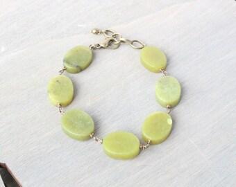 New Jade Gemstone Bracelet - Green Bracelet, Gemstone Jewelry, Beaded Bracelet, Wire Wrapped Bracelet, Bronze Bracelet, Bronze Jewelry, Boho