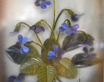"Original 3D Oil Painting on Glass 'Violets"" by Edmond J. Nogar Hand Painted Hand Made Authenticated Vintage Artwork"