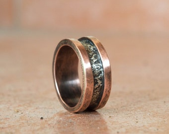 Copper ring, Mixed metal ring, Copper and silver mens ring, Personalized mens ring, Cool mens ring, Artisan ring, Wedding ring, Couples ring