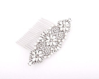 Silver Crystal Bridal Hair Comb Wedding Bridal Headpiece Hair Accessory Crystal Wedding Jewelry Art Deco Bridal Hairpiece Clip