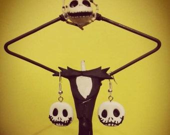 Pair of earrings of Jack Skellington from the nightmare before Christmas, Disney fimo Earrings Jack Skellington Nightmare before Christmas