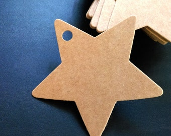 Brown Kraft Tags with Strings /Gift Tags /Hang Tags/ Price Tags/ Wedding Name Tags/ Favor Tags/ Packaging Tags /Paper Tag / Star (6cm) 50pcs
