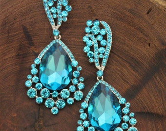 large crystal teal blue rhinestone earrings, aqua blue pageant earrings, teal rhinestone prom earrings