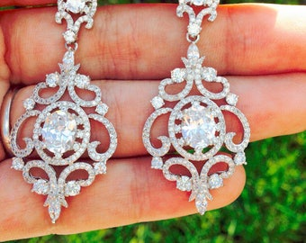 Bridal Earrings Chandelier Earrings Wedding earrings Wedding Jewelry Bridal accessories Swarovski earrings Vintage earrings CZ Earring