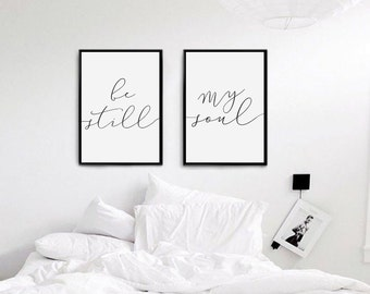 Be Still My Soul Print, Bedroom Decor, Wedding Gift, Wall Art, Wall Decor,Minimal Print,Couple Print, Fashion Print, Set Of 2 Bedroom Prints