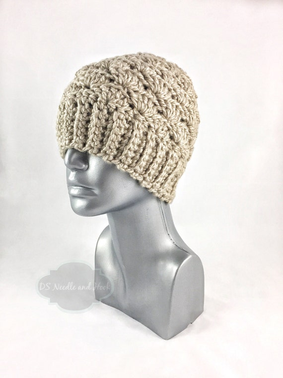 Taupe Crochet Hat, Chunky Beige Crochet Beanie, Light Tan Winter Hat, Light Brown Crochet Beanie, Beige Toque, Warm Khaki Ski Cap