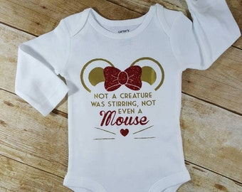 Not a Creature Was Stirring Not Even a Mouse Adorable Holiday Baby girl Gift Funny Baby Gift Hip baby bodysuit Funny Christmas baby clothes