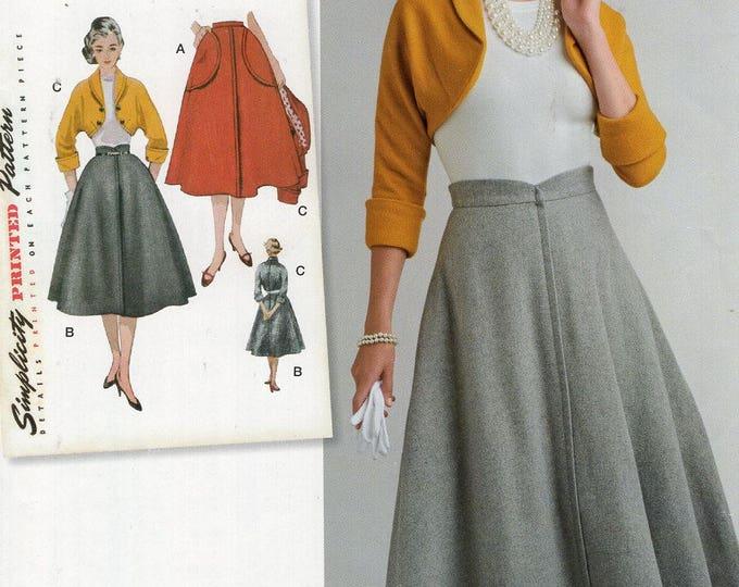 Simplicity 0581 8250 Free Us Ship Vintage 1950s Rockabilly Skirt Bolero Jacket Reproduction Sewing Pattern  Uncut Size 16/24 Bust 38-44