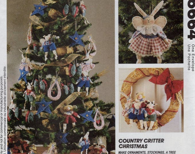 Free Us Ship Sewing Pattern McCall's 6664 Country Critter Christmas Heart Sole Bunny Rabbit Ornaments wreath Pig cow Bird Angel wings Uncut