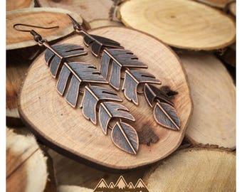 Loose Copper Feather Earrings