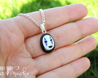 Chain necklace 40cm pendant No. face Spirited away (fimo) Kaonashi - geek manga giblhi miyazaki spirited away