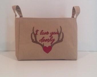 Valentine's Day Basket * Deer Antlers Basket * Fabric Basket * Valentine's Day Gift  * Deer Antlers * Valentine's Day * Antlers Basket *