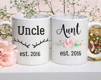 Aunt Mug, Uncle Mug Set, Pregnancy Announcement, Baby Reveal, Baby Announcement, New Aunt Gift, Gift for Uncle, New Aunt Gift, Uncle To Be