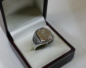 """19.6 mm seal ring 835 silver initials """"hA"""" SR590"""