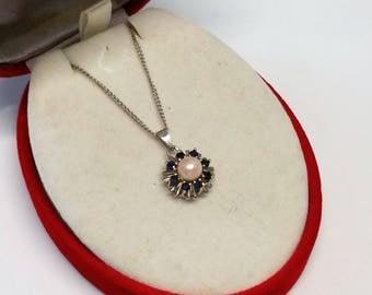Pendant 925 Silver Pearl Sapphire vintage SK692