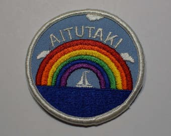 Vintage Aitutaki Patch - Sailboat and Rainbow