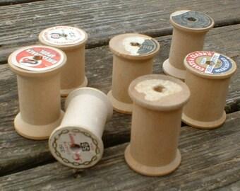 Seven Vintage Large Wooden Spools
