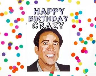 Nicolas Cage Card (Birthday Card, Blank Card, Funny Birthday Card, Wife Card