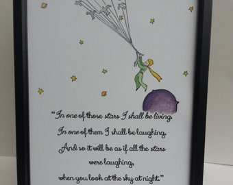 A4 The Little Prince Quote and Watercolour Painting Hand Painted Antoine de Saint-Exupéry Children/Adult Book