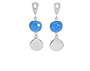 White druzy earrings, blue chalcedony, sterling silver, drusy earrings, gemstone earrings, druzy jewelry, natural stone, statement jewelry