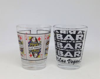 2 Las Vegas Shot Glasses, Bar Ware, Shot Glasses, Vegas Shot Glasses, Las Vegas Nevada Glasses, Bar Accessory, Bar Decor
