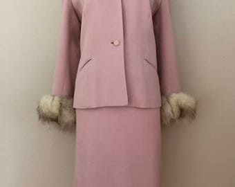 Gorgeous 1950's Lilli Ann Dusty Pink Gabardine Wool Jacket and Skirt Suit Set with Fox Fur Trim- Large