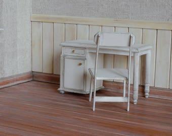 Handmade Desk with Chair Miniature 1:6 Pullip Blythe Momoko Barbie BJD Lati