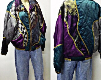90's FUNKY Wild COlorful ,Geometric polyester jogger jacket,bomber,jacket