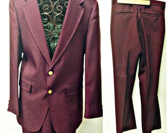 ANCORMAN,Groovy 80's Polyester,Disco,burgundy Mens 2 peice Leisure Suit