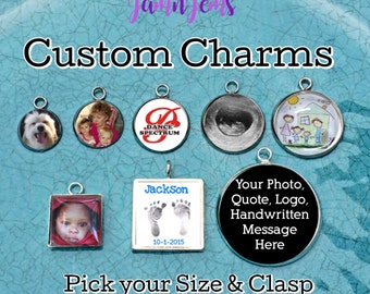 Custom Photo Charms, Personalized Photo Jewelry, Memory Photo Charm, Logo Pendant, Custom Picture Necklace, Pet Photo Gift, Memorial Jewelry