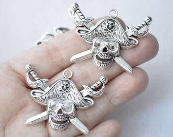 1 Pc Large Pirate Charm Skull Charm Antique Silver Tone 44x33mm - YD0336