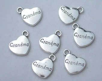 5 Pcs Grandma Charms Family Charms Antique Silver Tone 2 Sided 15x17mm - YD0646