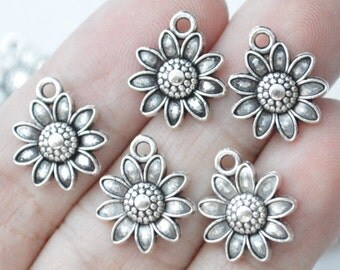 12 Pcs Sunflower Sun Flower Charms Antique Silver Tone 16x13mm - YD1391