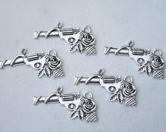 5 Pcs Gun Charms Handgun Charms Antique Silver Tone 32x16mm - YD1695