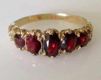 9ct Gold Garnet Five Stone Ring