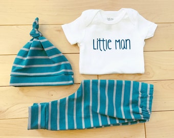 Baby Boy Coming Home Outfit / Little Man / Newborn / Knot Hat