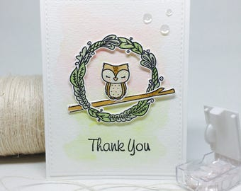 Handmade Thank You Card - Owl Theme