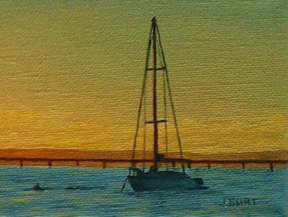 Segelboot sonnenuntergang gemalt  Original Öl gemalt. Sonnenuntergang über dem Wasser.