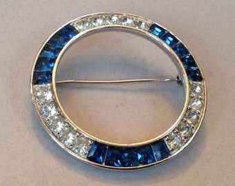 Pennino Sapphire Rhinestone Circle Brooch/Pin